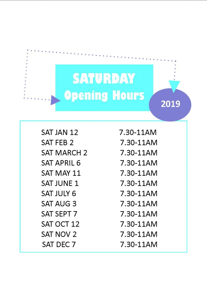Saturday opening dates 2019