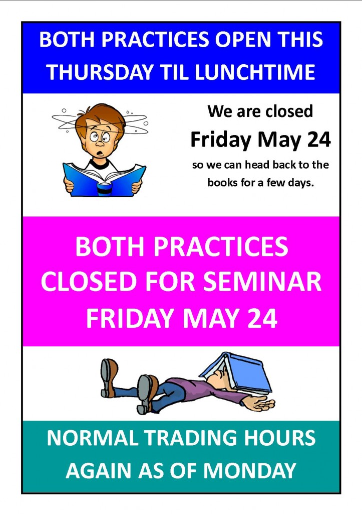 closed for seminar friday may 24