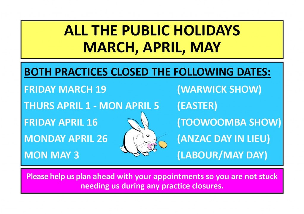 public holidays march april may